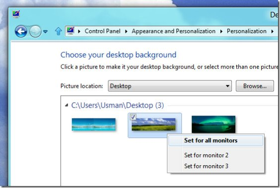Windows 8 also lets you set different wallpapers for each monitor 564x379