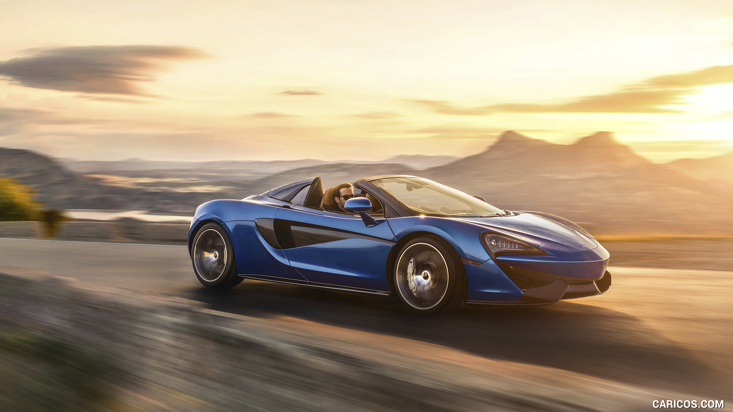2018 McLaren 570S Spider Color Vega Blue   Front Three Quarter 2560x1440