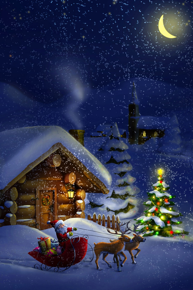 Santa North Pole iPhone Wallpaper HD 640x960