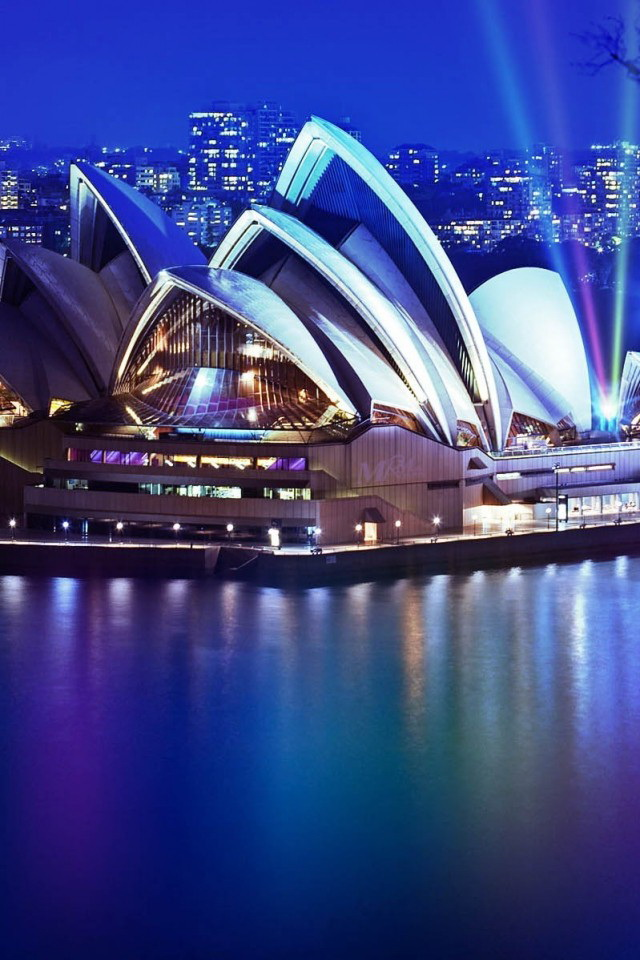 Sydney Opera House Night Wallpaper   iPhone Wallpapers 640x960