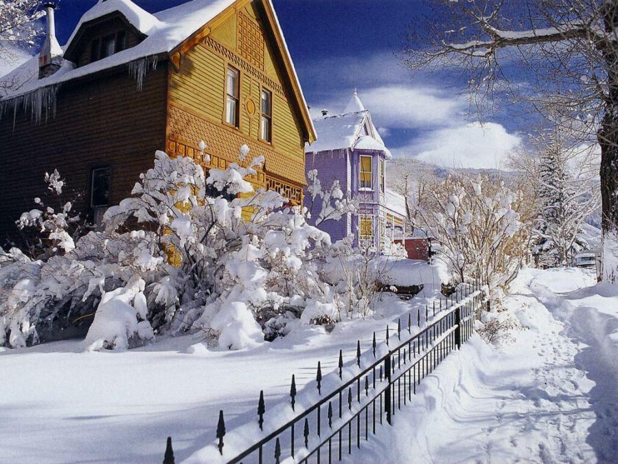 Snowy house winter scene. Courtesy www.free-desktop-backgrounds.net ...