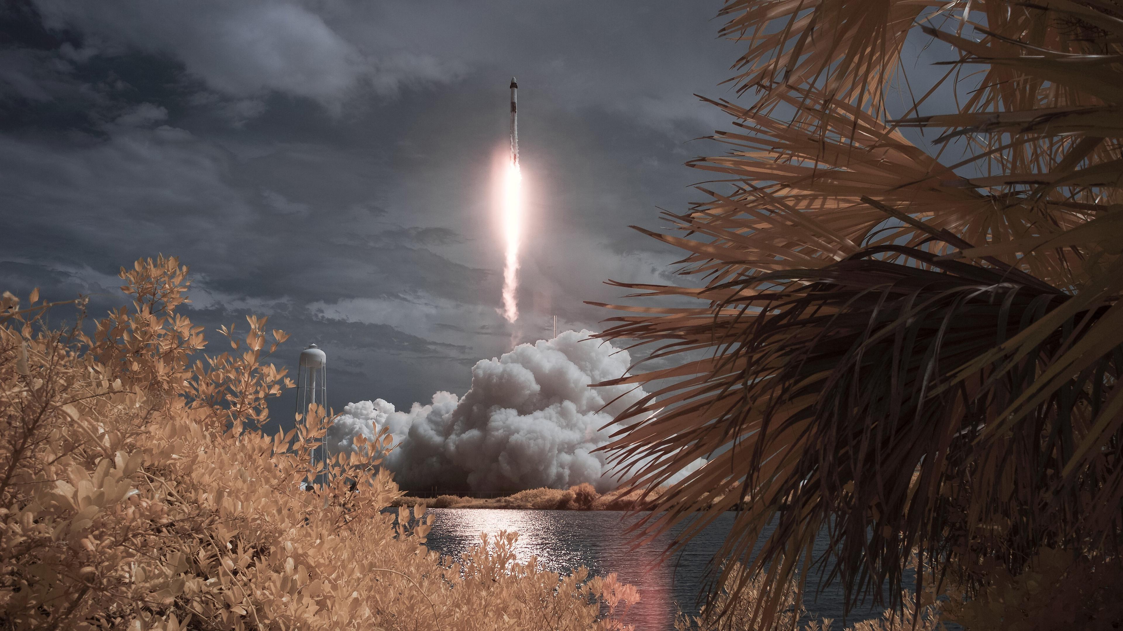 SpaceX Falcon 9 Rocket Crew Dragon Liftoff 4k Ultra HD Wallpaper 3840x2160
