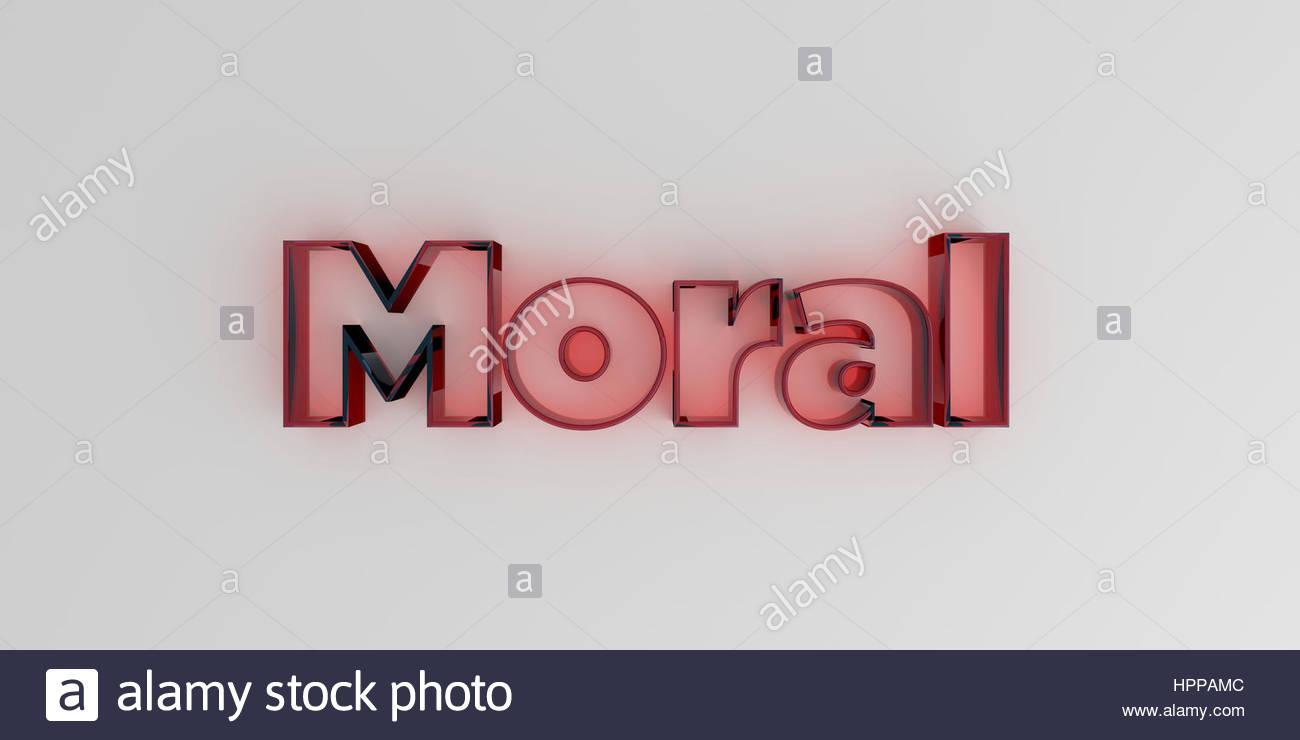 Moral   Red glass text on white background   3D rendered royalty 1300x740