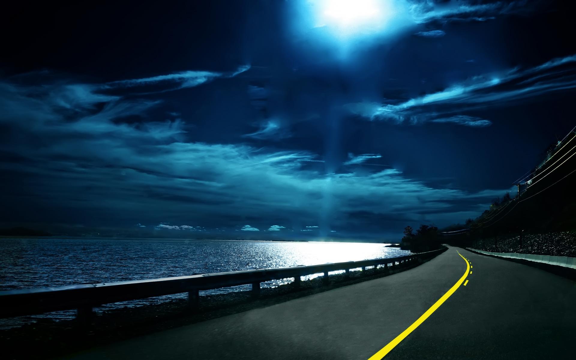 Moon Night Ocean Road wallpapers Moon Night Ocean Road stock 1920x1200