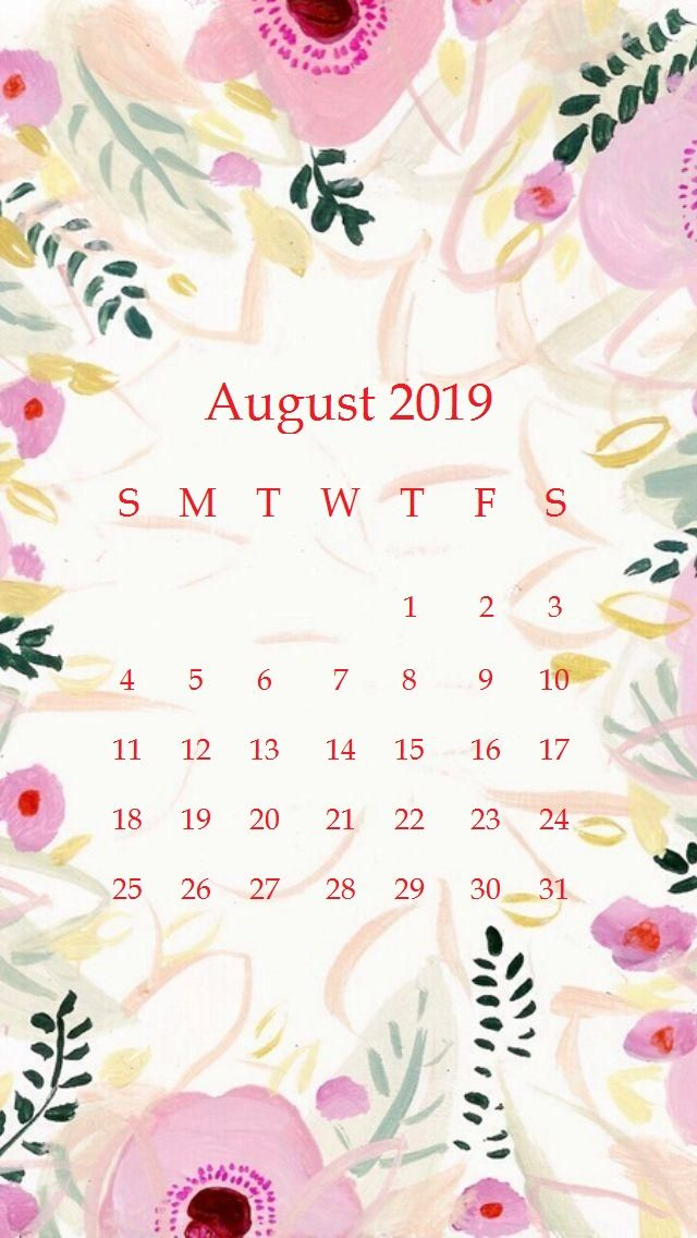 Beautiful floral Design August 2019 iPhone Calendar   Copy 640x1136