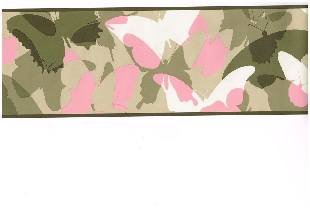 Pink and Green Camo Butterfly Wallpaper Border eBay 1000x688