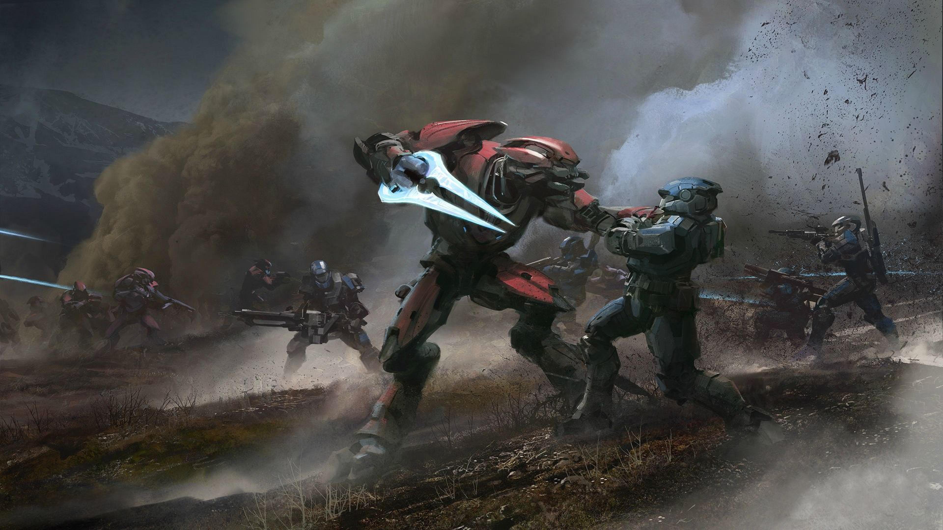 Halo Reach Elite Battle Spartan Wallpaper Background 4K Ultra HD 3840x2160