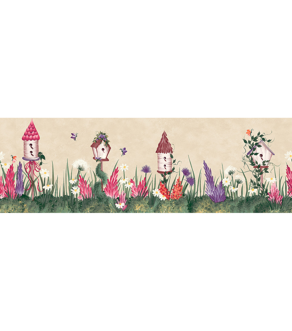 Bird House Floral Wallpaper Border Multicolor SampleBird House Floral 1200x1360