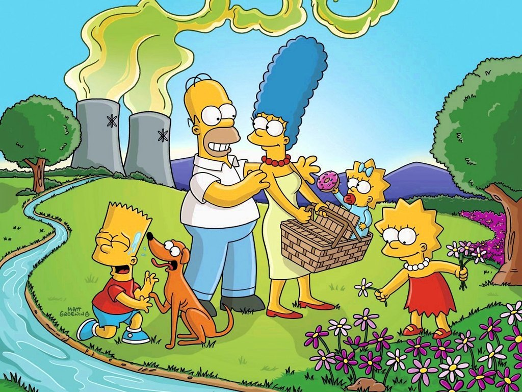 To use this picture of the Simpsons as your desktop wallpaper right 1024x768