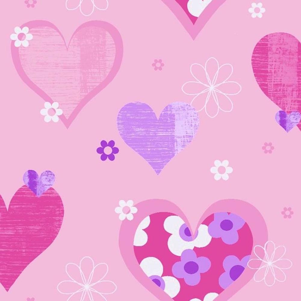 Hearts Flowers Luxury Girls Childrens Kids Bedroom Wallpaper 533701 1000x1000