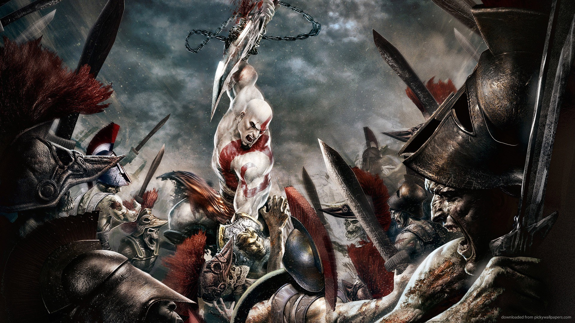 Download 1920x1080 Kratos Epic Battle Wallpaper 1920x1080