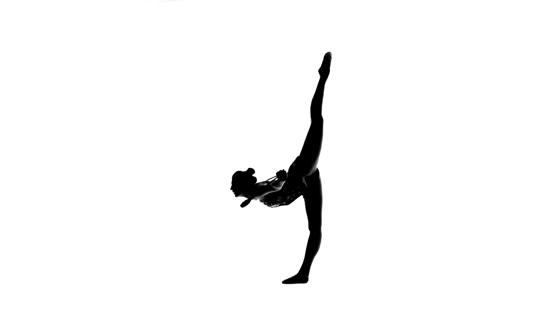 Gymnast standing on one leg and holds a mace in his hand White 1920x1080