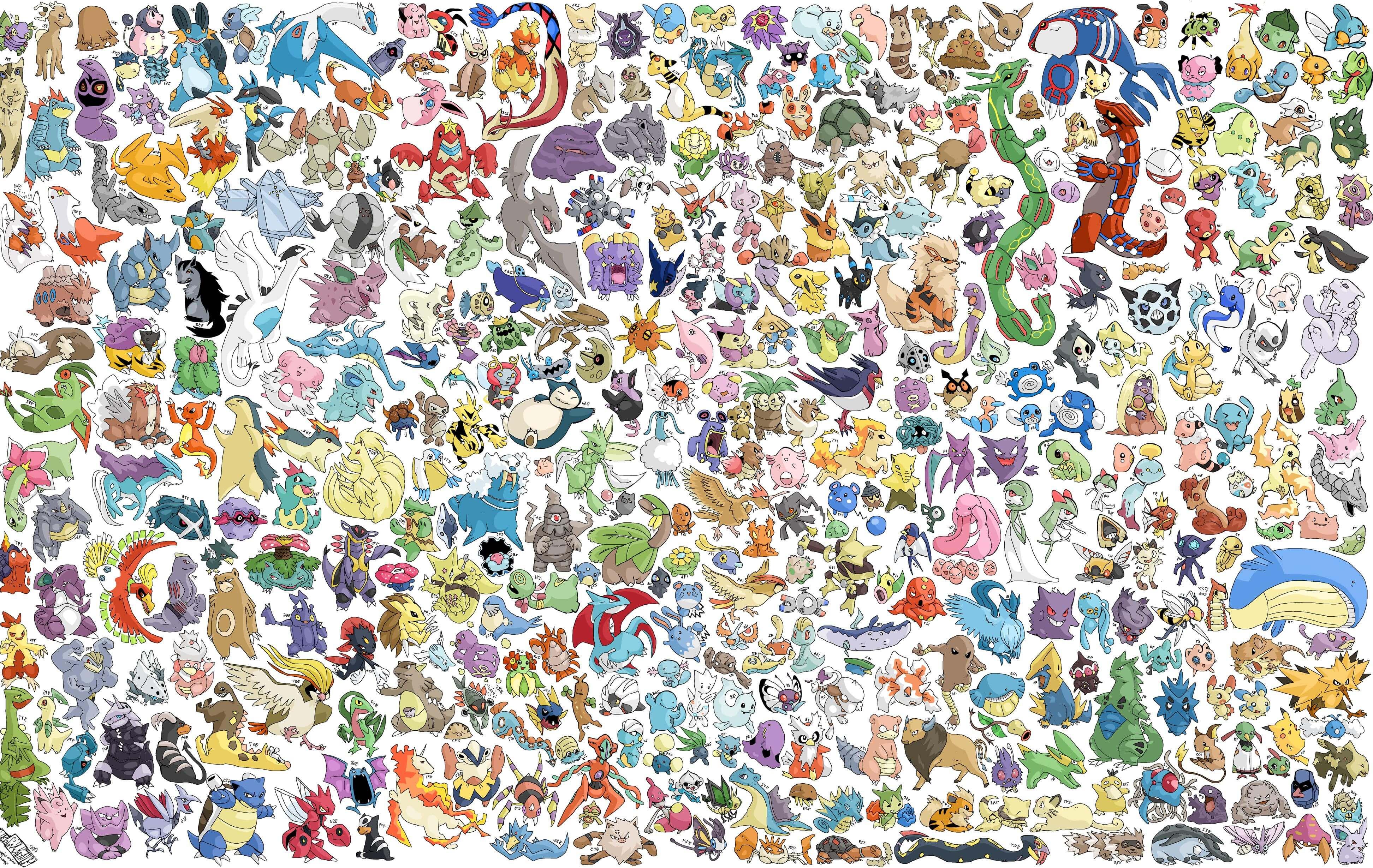 All Pokemon HD Wallpaper 3888x2459