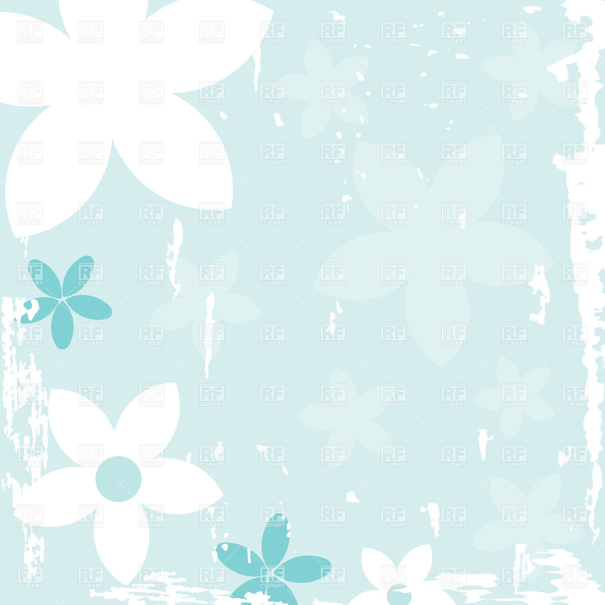 Abstract stylized flowers over light blue grungy background Vintage 1200x1200