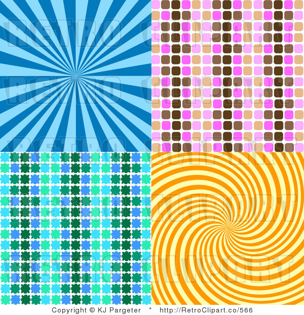 Royalty Retro Blue Pink Brown Green and Orange Backgrounds of 600x620