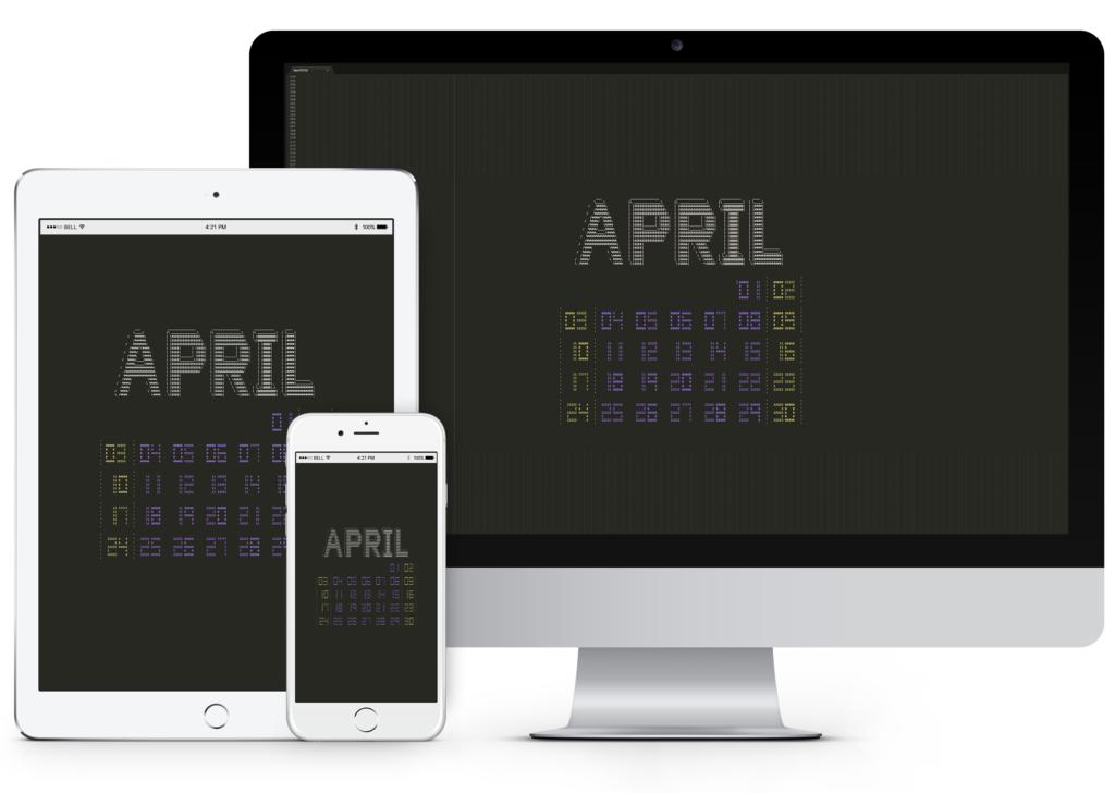 April 2016 Desktop Calendar Wallpaper Paper Leaf 1024x728