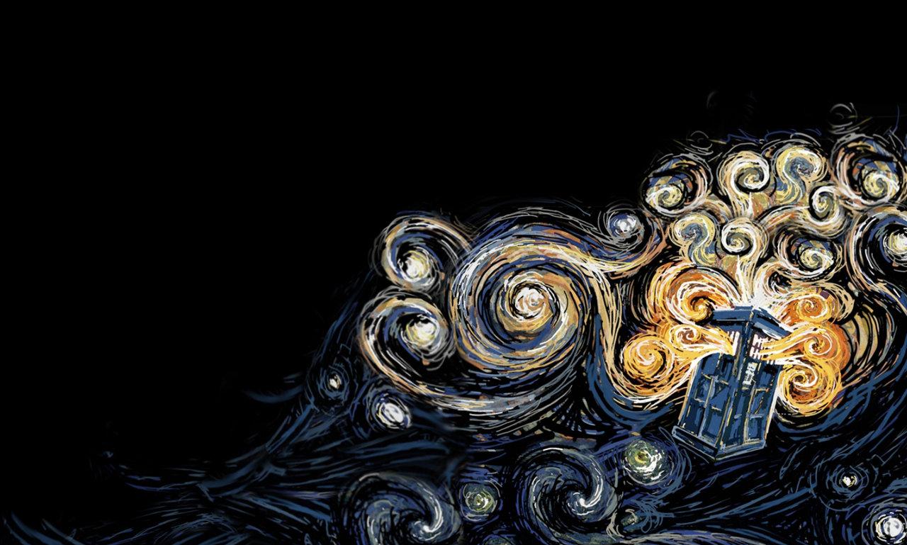 ... night; starry; painting; images. tardis wallpaper van gogh style by nayu nyun customization wallpaper 1280x769