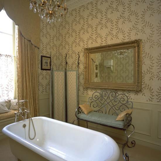 Traditional bathroom wallpaper   brushed nickel bathroom lavatory 550x550