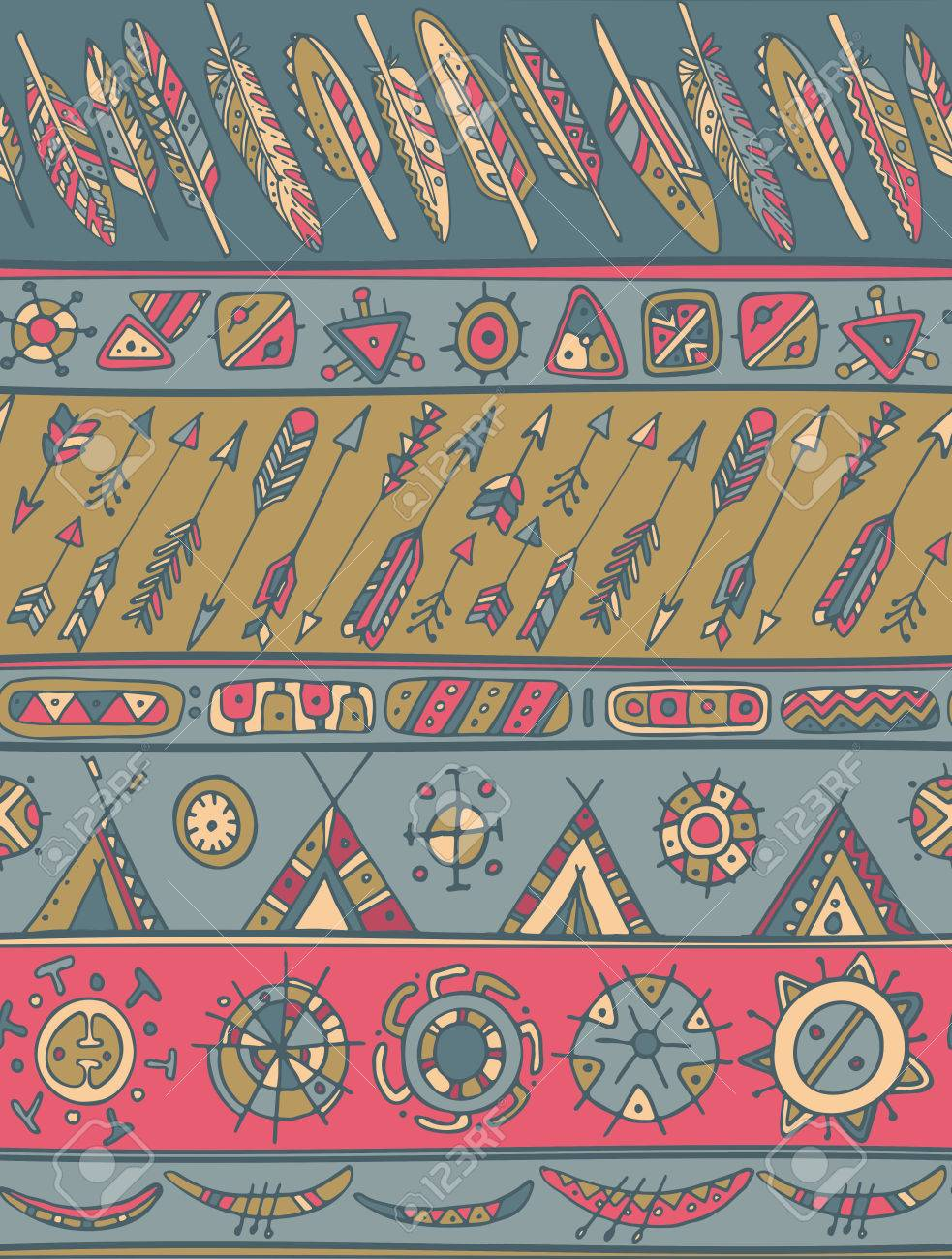 Ethnic Pattern With Ornamental Stripes With Arrows Feathers 983x1300