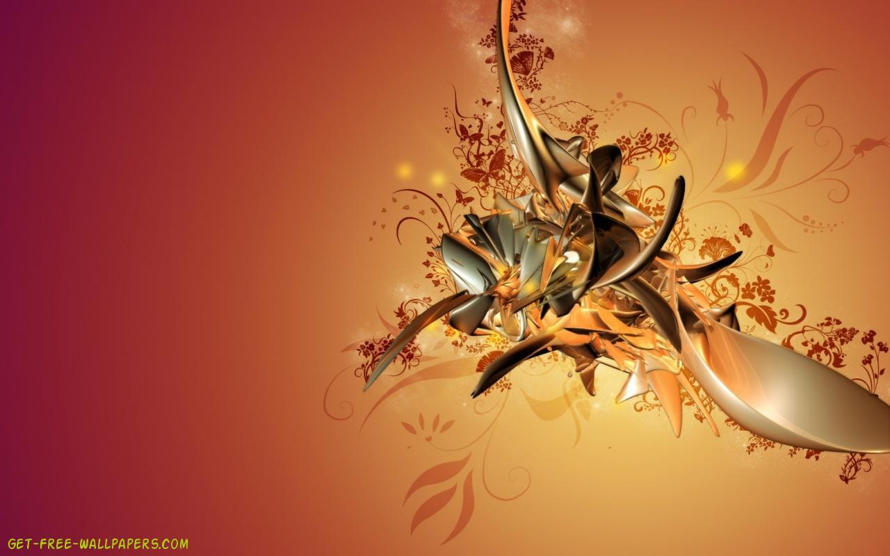 Download Golden Abstract Art Wallpaper 1280x800