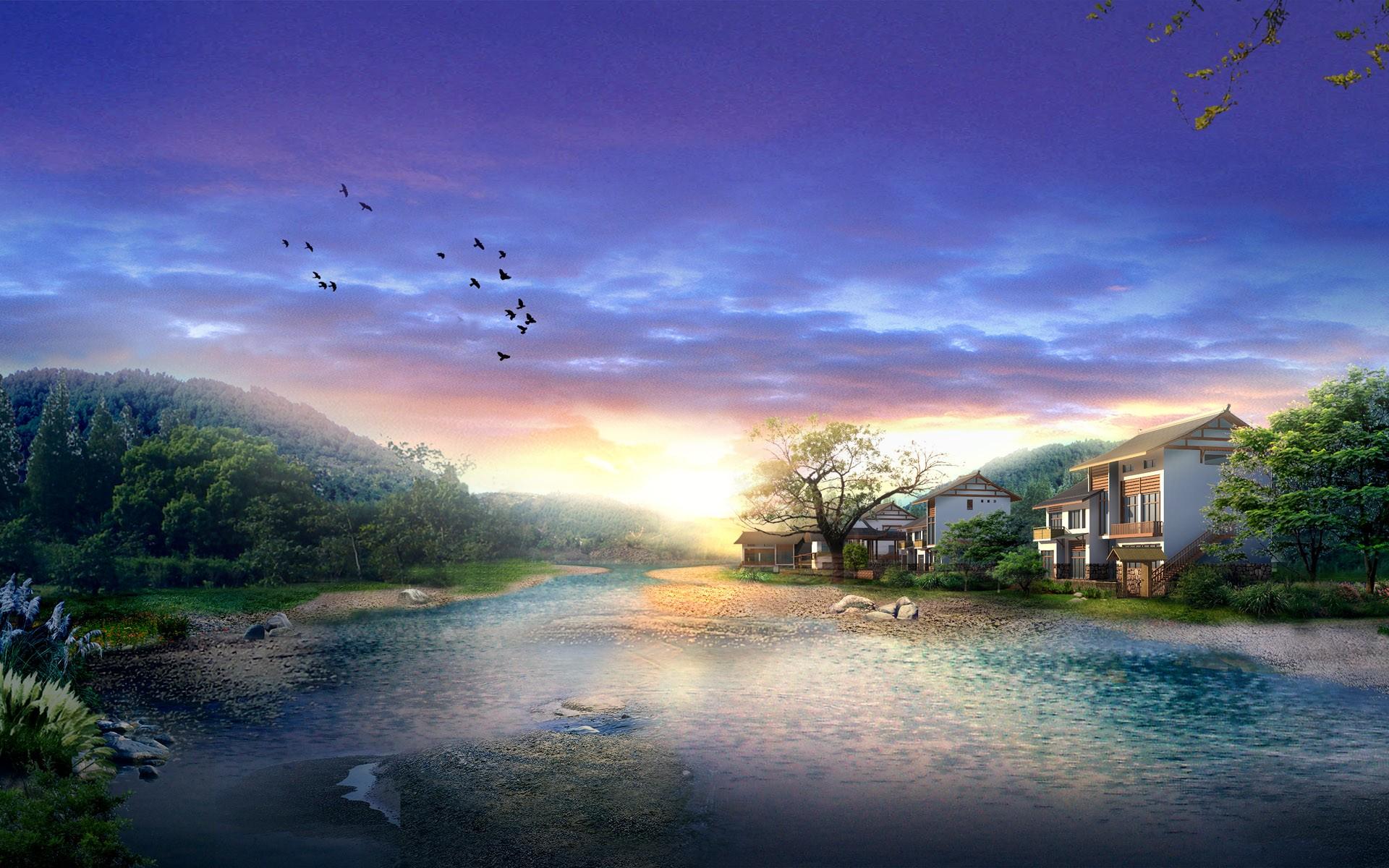 Sunrise in Digital Japan Wallpapers HD Wallpapers 1920x1200