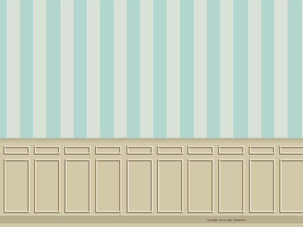 Printable dollhouse roombox backdrop with beige wainscoting and blue 600x450