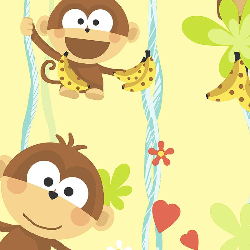 Closeout Wallpaper   Cheeky Monkeys Yellow   J Crawford Design Studio 800x800