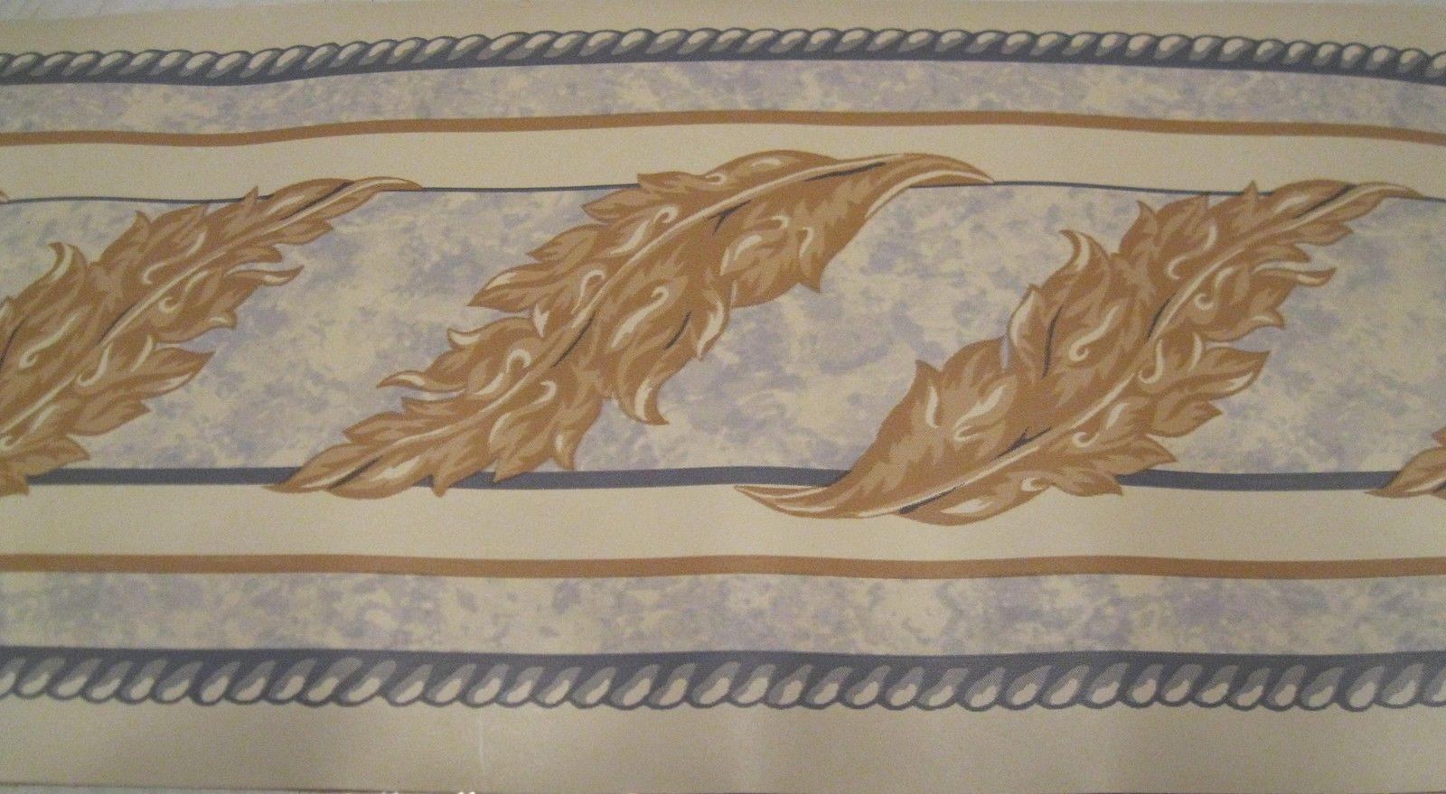 Blue Rope Gold Acanthus Leaf Swirl Scroll White Wallpaper Border 1600x879