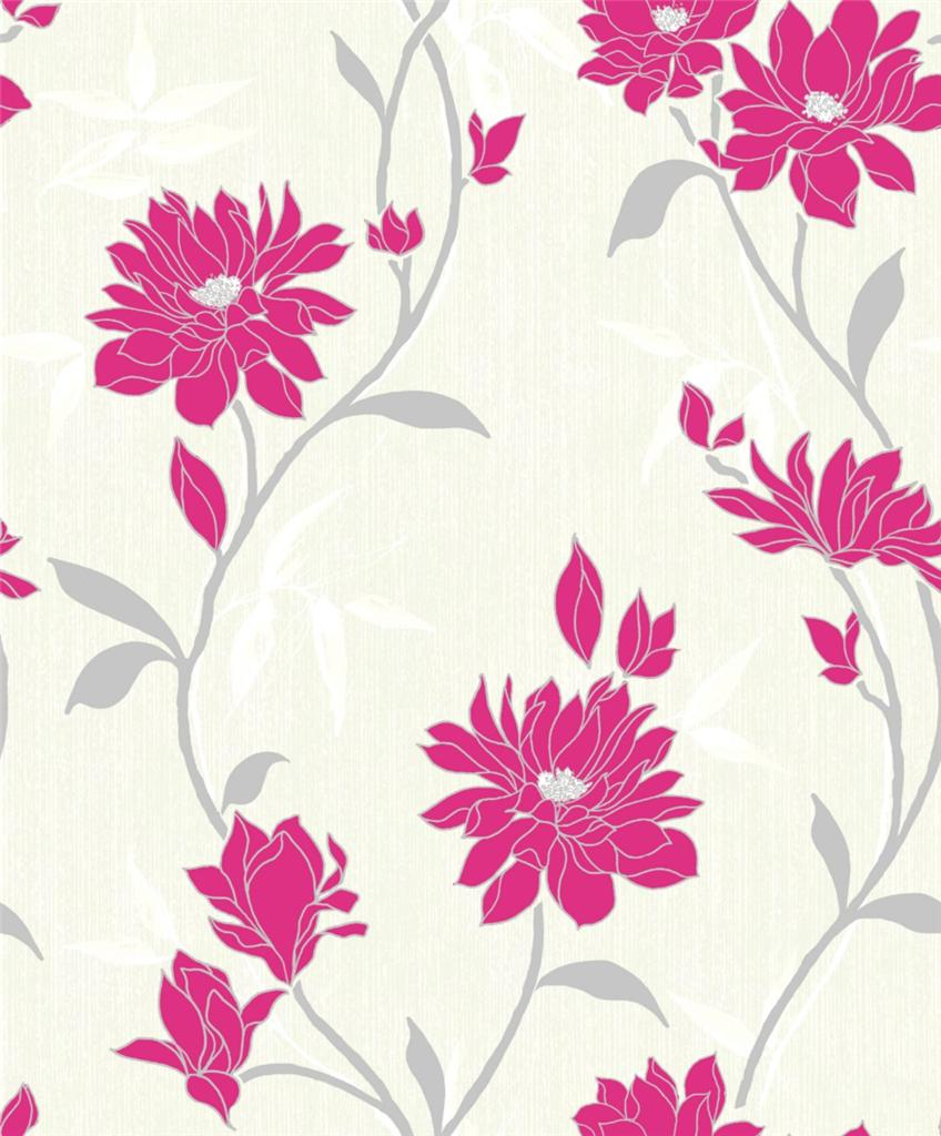 ELEGANZA RICH TEXTURE FLORAL FLOWER LEAF PRINT VINYL WALLPAPER ROLL 848x1024