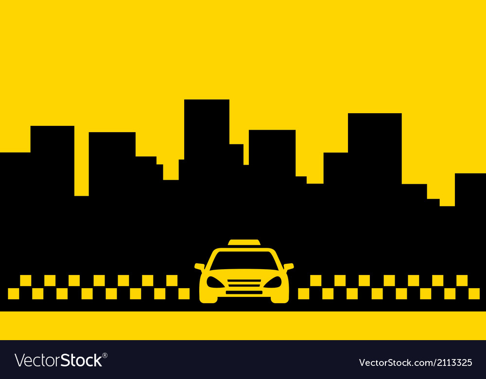 Yellow taxi backdrop transport background Vector Image 1000x780