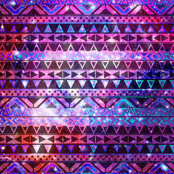 Girly Andes Aztec Pattern Pink Teal Nebula Galaxy Art Print by Girly 600x600