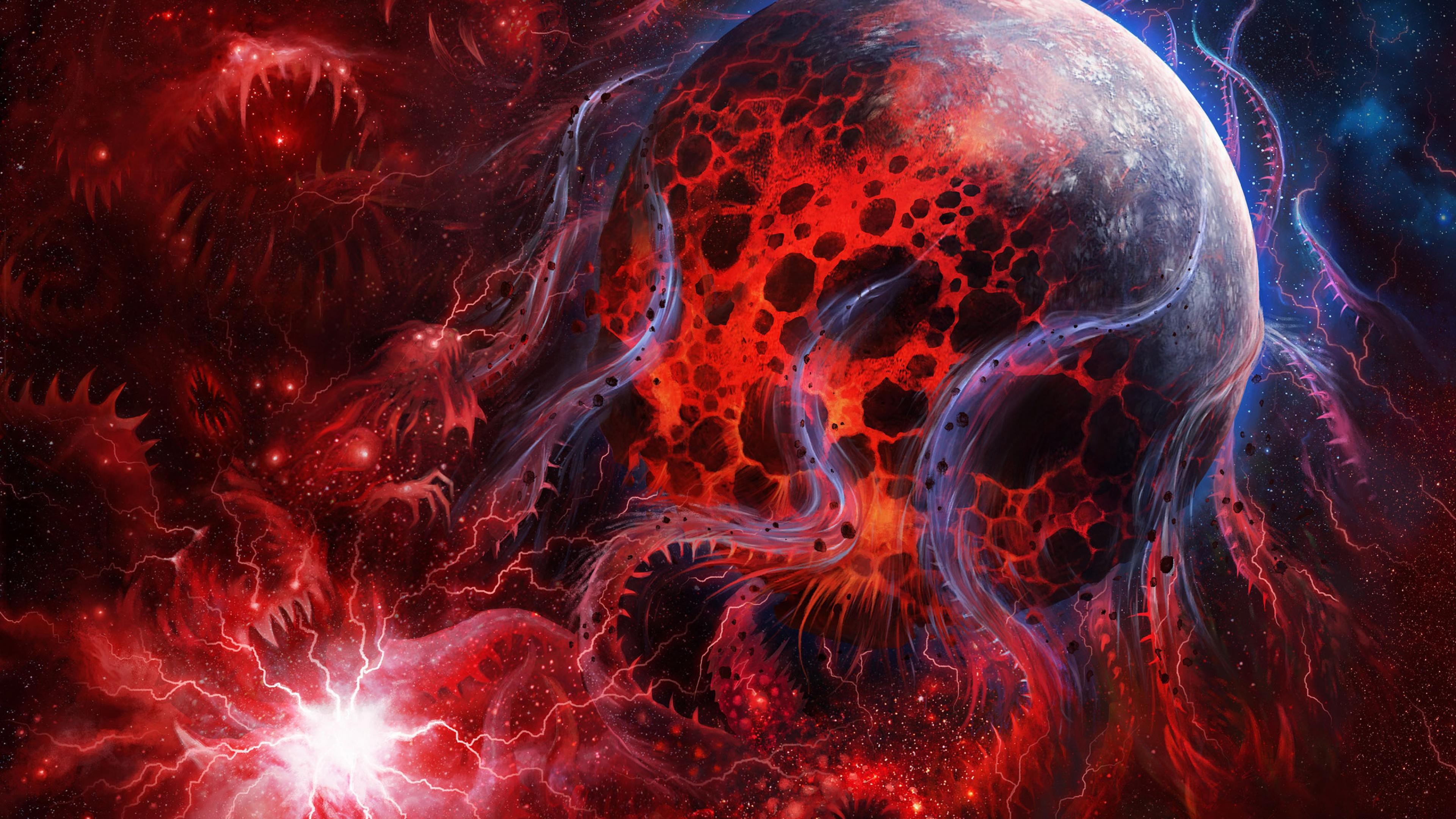 Space Art Abstract Design Red Planet Fire Wallpaper WallpapersByte 3840x2160