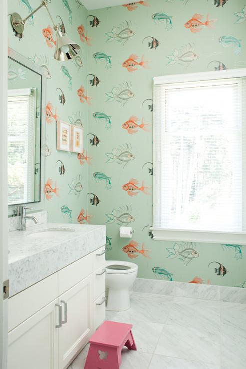 kids bath kids bathroom aquarium wallpaper fish wallpaper bathroom 493x740