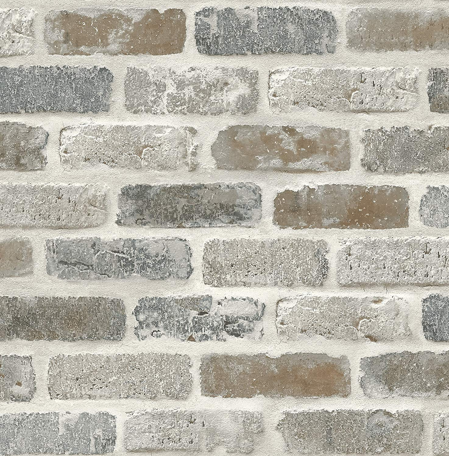 NextWall Washed Faux Brick Peel and Stick Wallpaper     Amazoncom 1474x1500