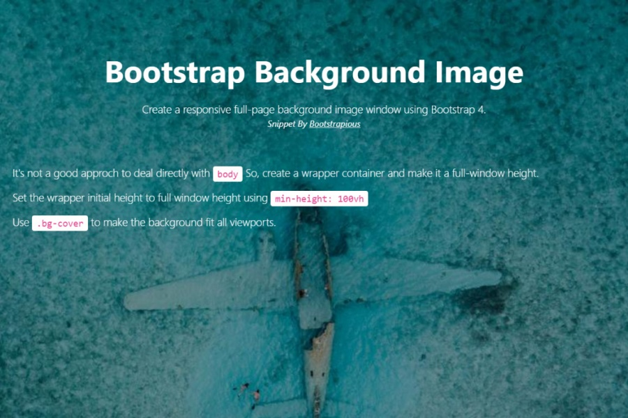 Bootstrap 4 Fullscreen Background Image   HTML CSS snippet template 900x600