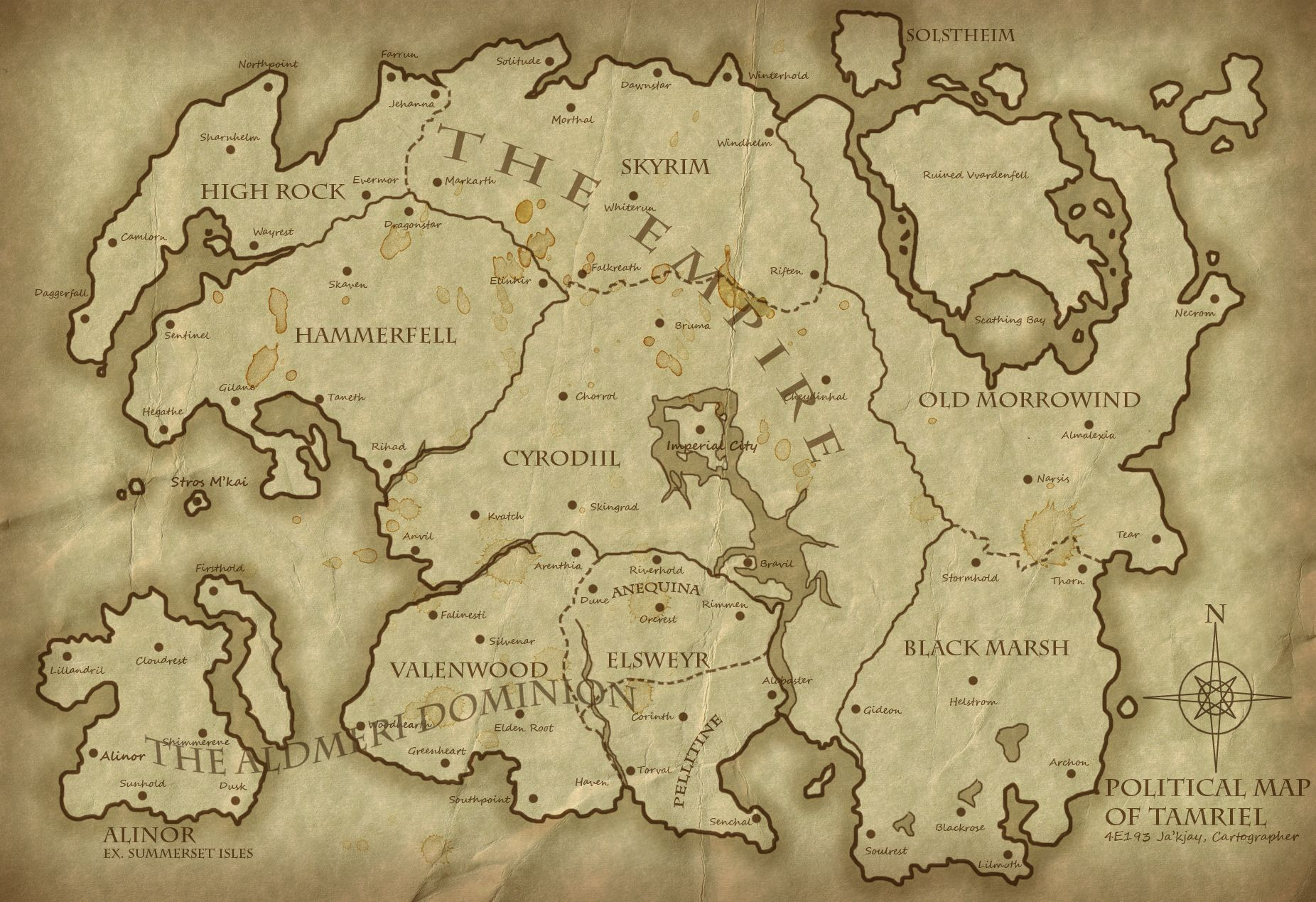 A Map Of All Of Tamriel Political Map of Tamriel 4E193   Revised 1852x1269