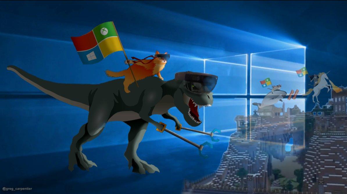 Windows 10 T Rex and Ninja Cat by KrokoZero 1194x669