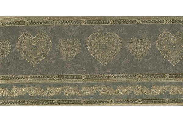 Home Gold Scrolls Molding HEARTS Wallpaper Border 600x400
