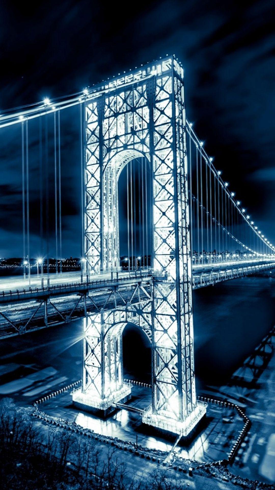 Night Shiny Long Bridge Nature Landscape iPhone 6 plus 1080x1920