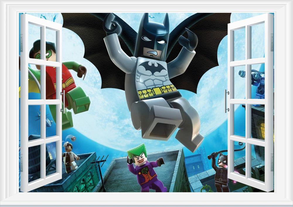 Lego Batman 3D Window Wall Art Sticker Decal Mural Wallpaper Kids 1000x707