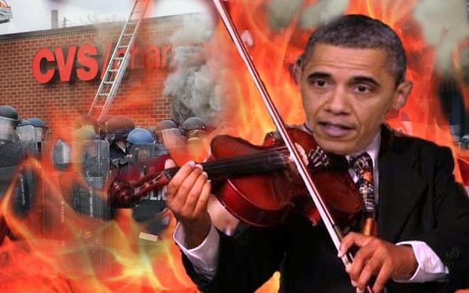 President Obama Fiddles While Baltimore BurnsMcClures Magazine 659x412