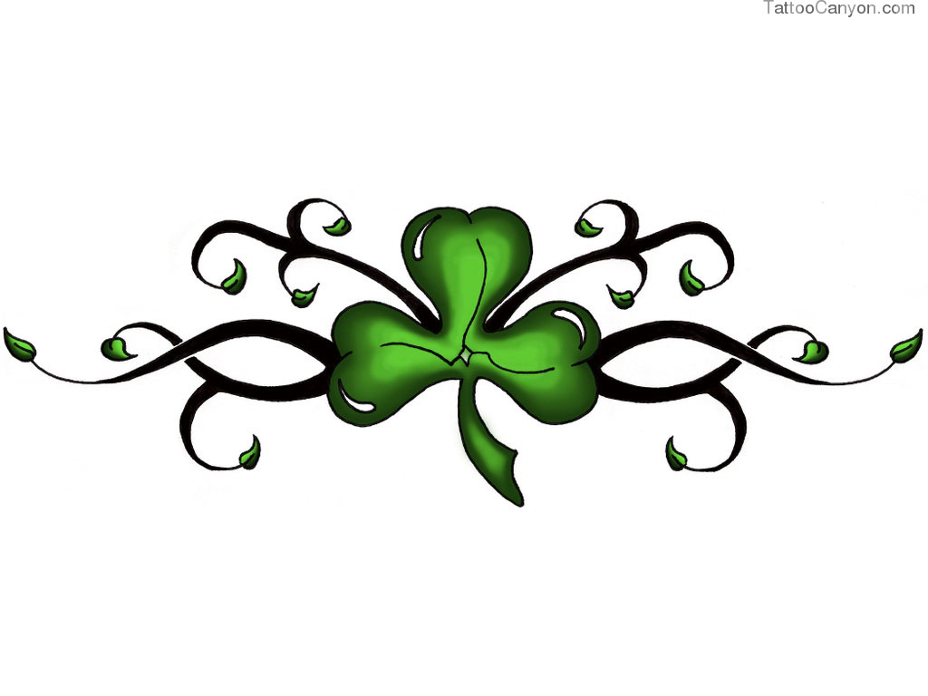Designs Green Clover On Black Stem Tattoo Wallpaper Picture 3402 1024x768