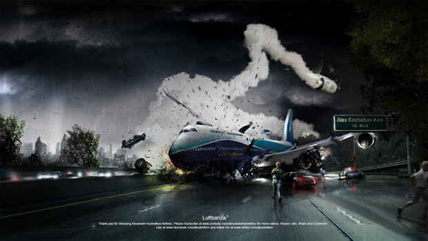 Time Lapse of a Plane Crash Composite Photo Being Created in Photoshop 620x349