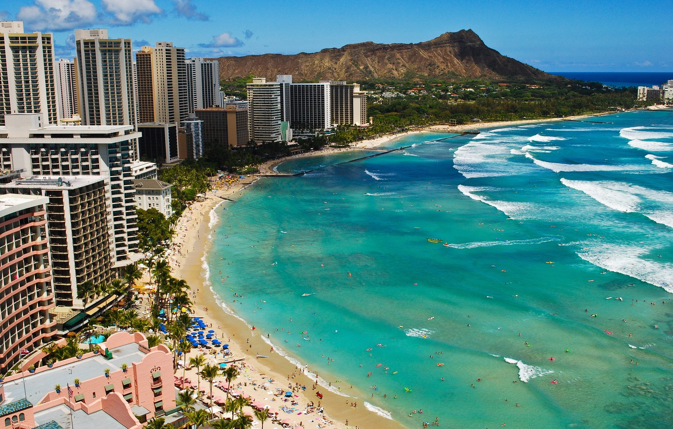 Wallpaper wave beach the ocean Hawaii Beach Waikiki images 1332x850