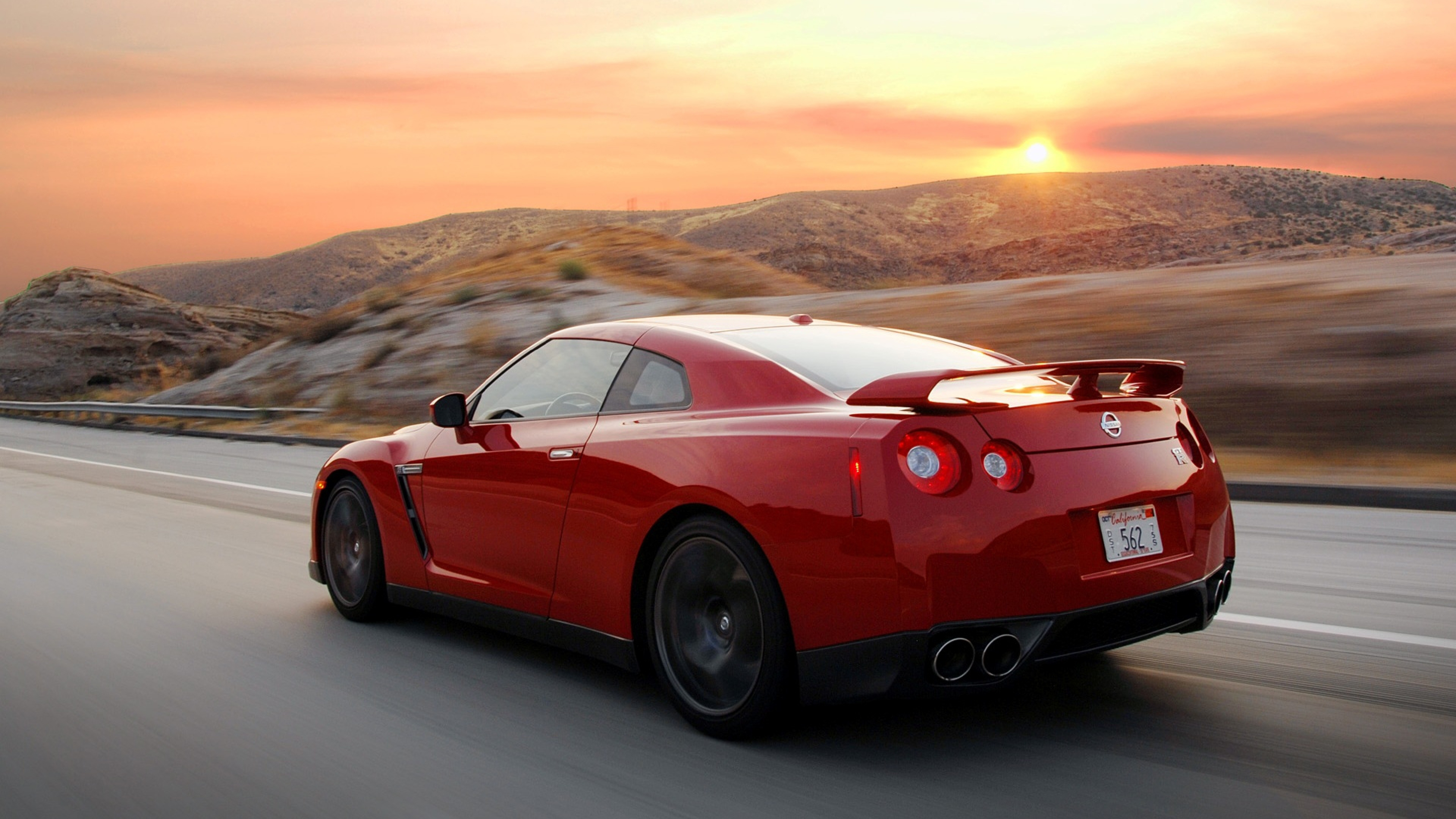 Nissan Red Run Moving Side view Wallpaper Background 4K Ultra HD 3840x2160