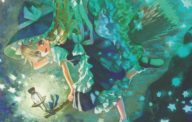 Wallpaper smile lantern broom stars touhou art ruffles 1332x850