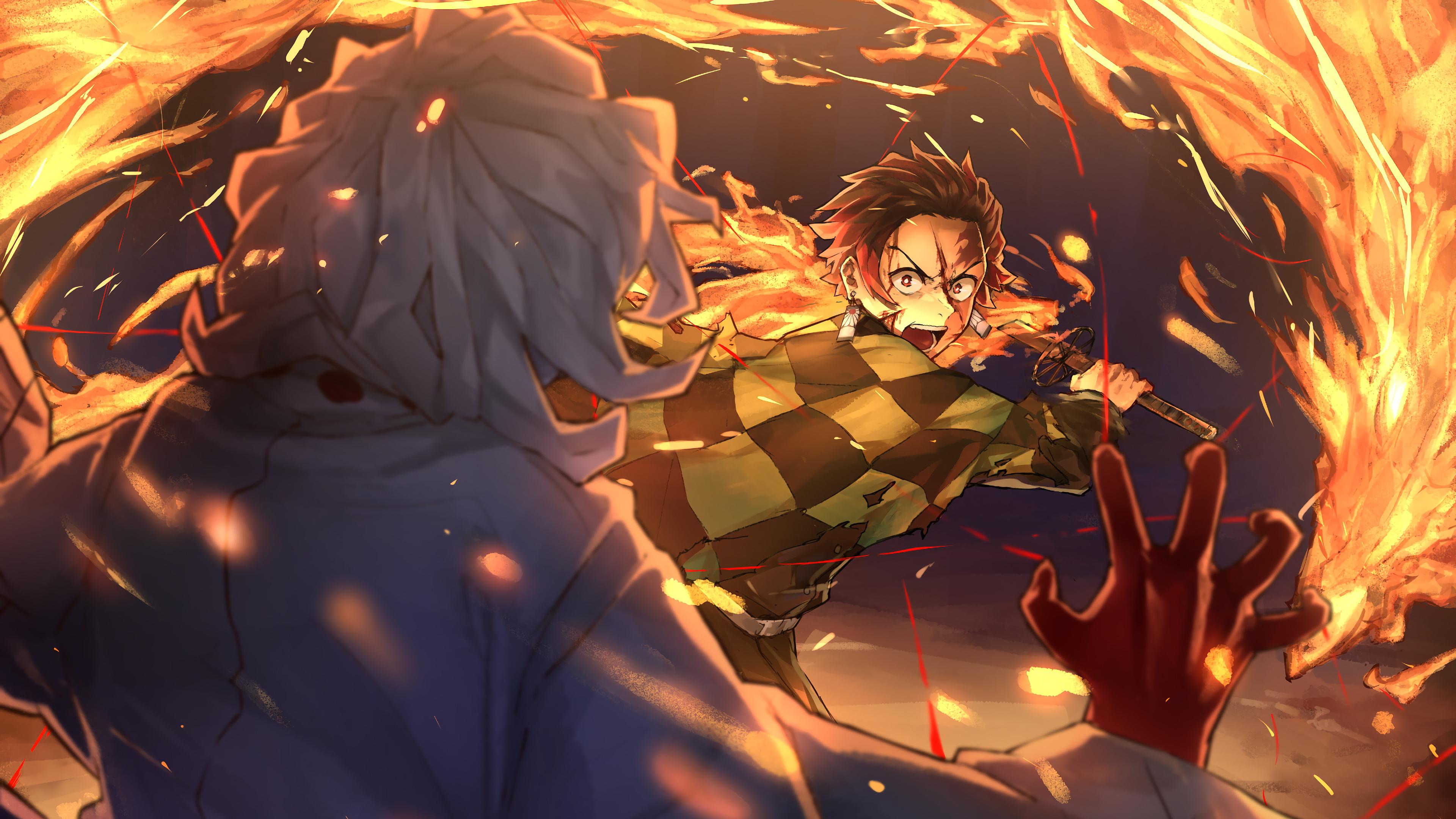 Tanjiro vs Rui Kimetsu no Yaiba 4K Wallpaper 31012 3840x2160