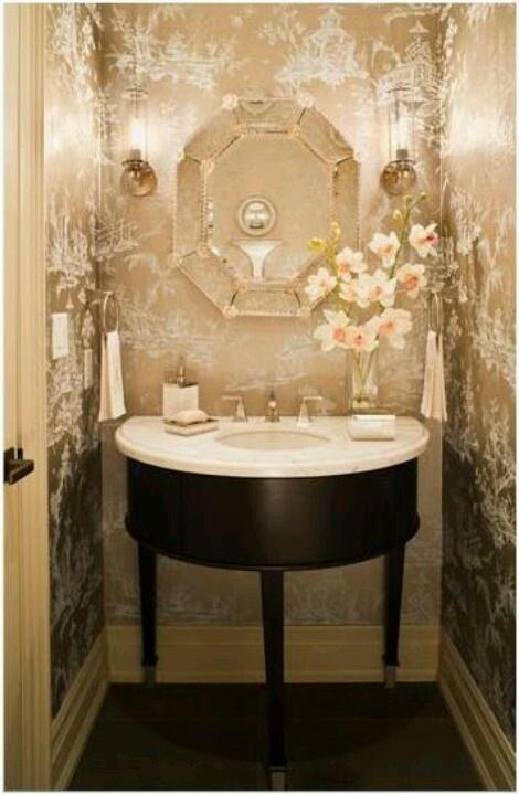 Bathroom Wallpaper Mirror Rooms Idea Guest Bathroom Small Bathroom 470x720