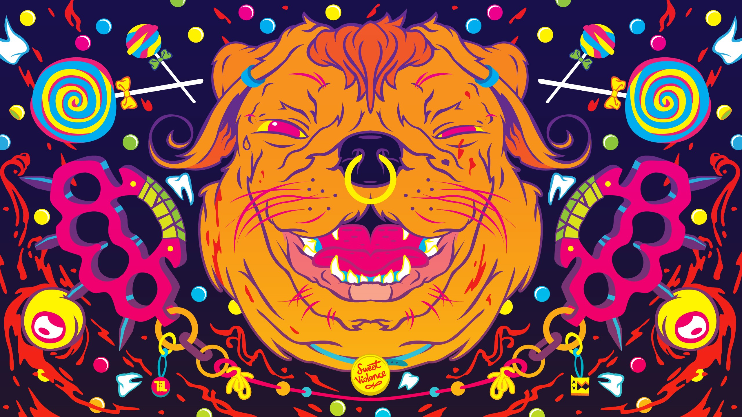 dogs psychedelic color art abstract wallpaper background 2560x1440