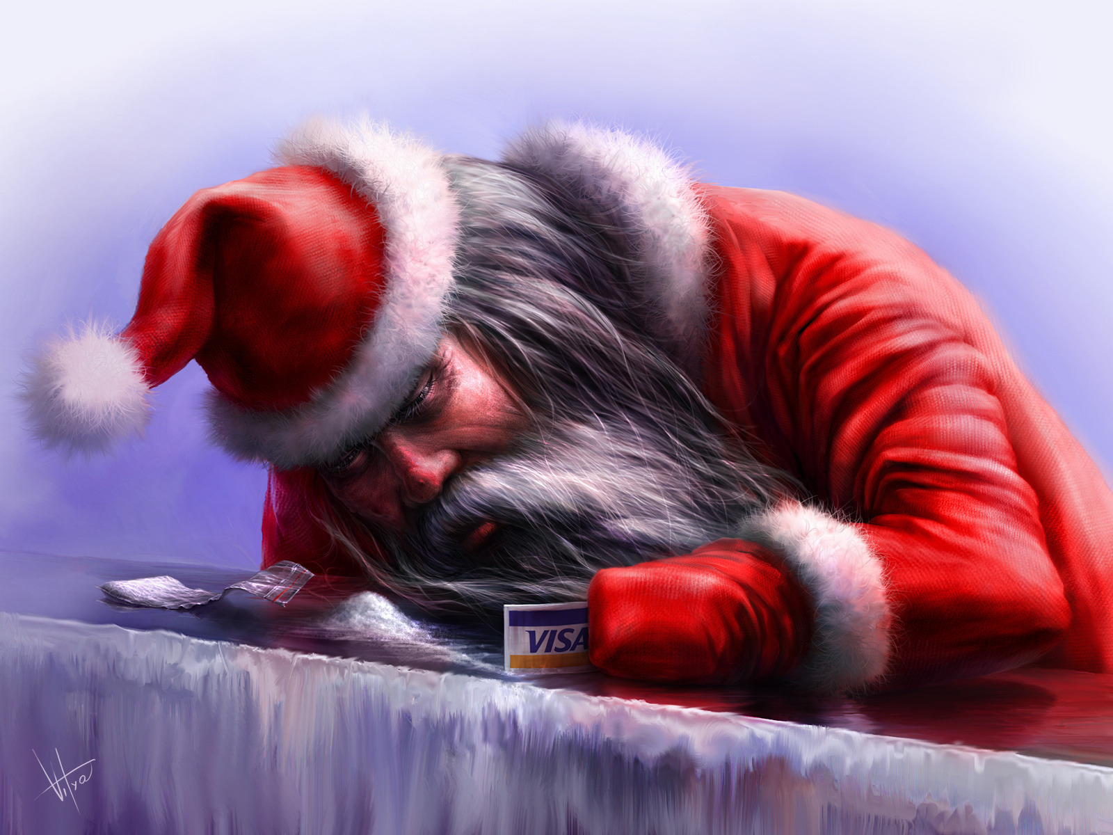 Claus wallpaper sniffing snow collecting his visa card as cocaine 1600x1200